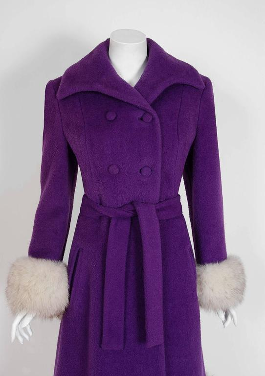 1960's Lilli-Ann Purple Wool & Fox Fur Double-Breasted Belted Princess Coat  2