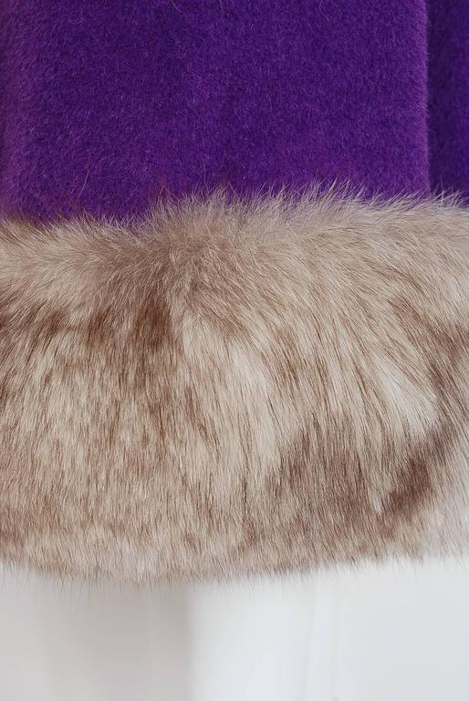 1960's Lilli-Ann Purple Wool & Fox Fur Double-Breasted Belted Princess Coat  4