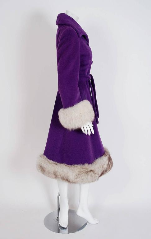 1960's Lilli-Ann Purple Wool & Fox Fur Double-Breasted Belted Princess Coat  3