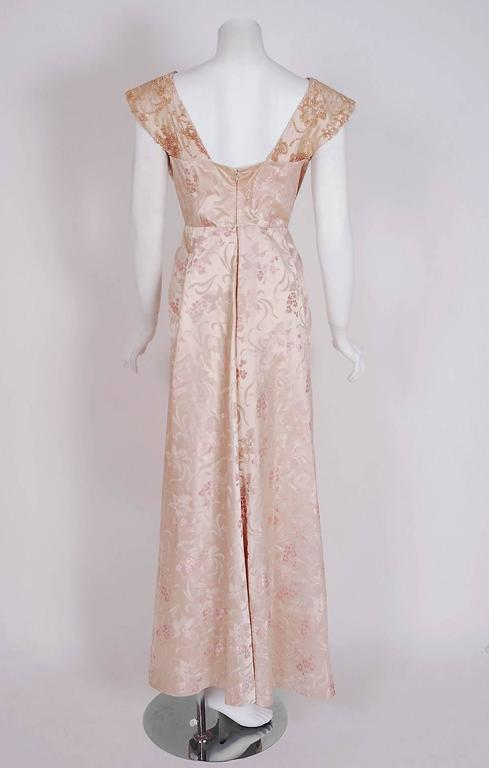 Women's 1953 Christian Dior Haute-Couture Beaded Champagne Pink Floral-Print Silk Gown For Sale