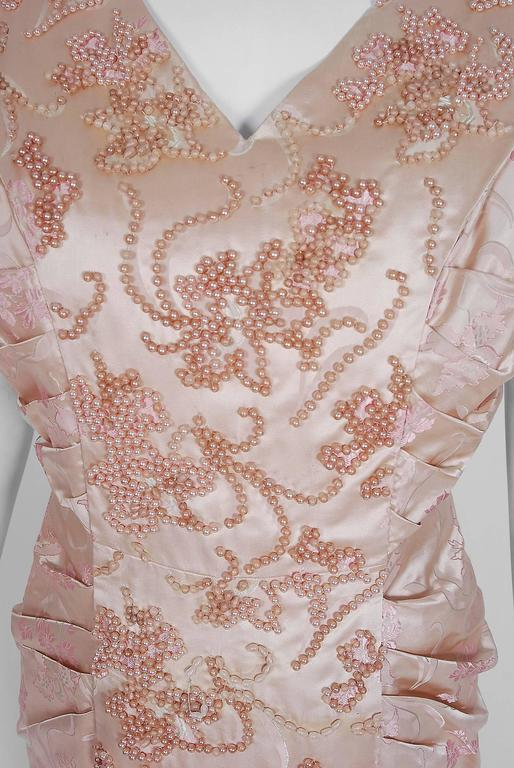 Beige 1953 Christian Dior Haute-Couture Beaded Champagne Pink Floral-Print Silk Gown For Sale