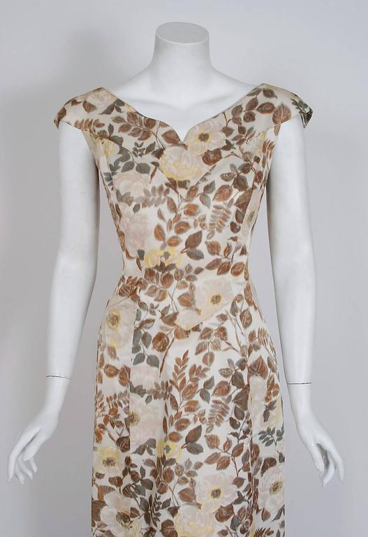 Brown 1948 Paquin Demi-Couture Watercolor Floral Print Silk Hourglass Trained Gown For Sale
