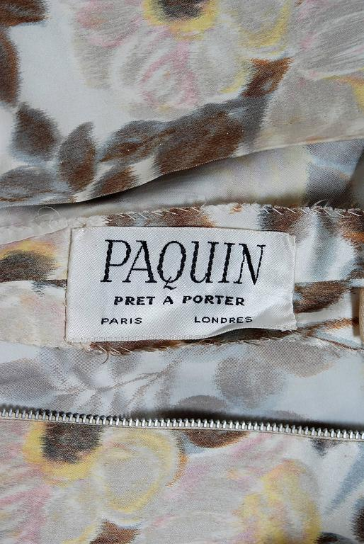 1948 Paquin Demi-Couture Watercolor Floral Print Silk Hourglass Trained Gown For Sale 2