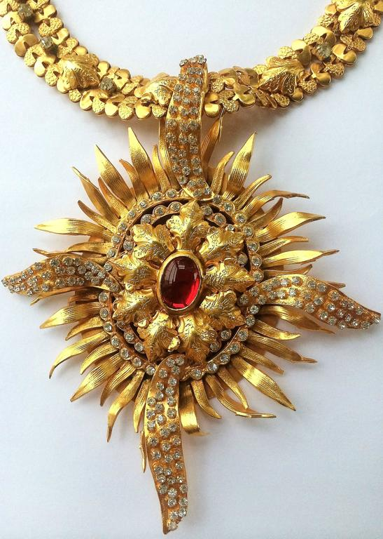 Exceptional gilt and paste starburst pendant necklace,c.1960s, attributed to CIS 2