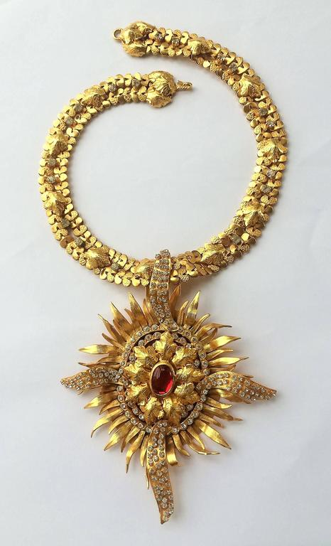 Exceptional gilt and paste starburst pendant necklace,c.1960s, attributed to CIS 3