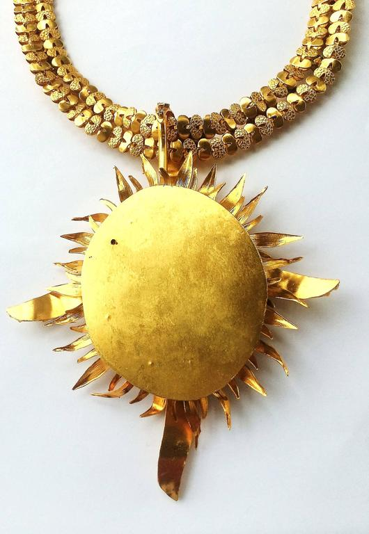Exceptional gilt and paste starburst pendant necklace,c.1960s, attributed to CIS 4