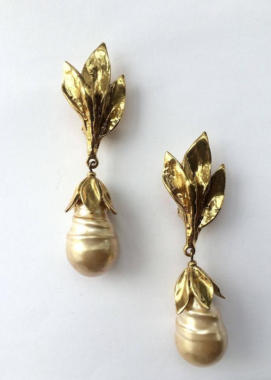 Saint Laurent leaf Clip Earrings