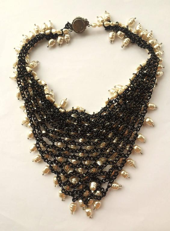 1960s large baroque pearl and crystal 'bib' necklace 2