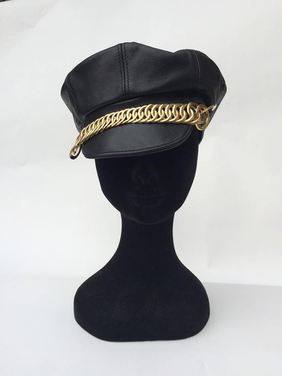 Balenciaga Black Leather and gilt metal peaked cap 2
