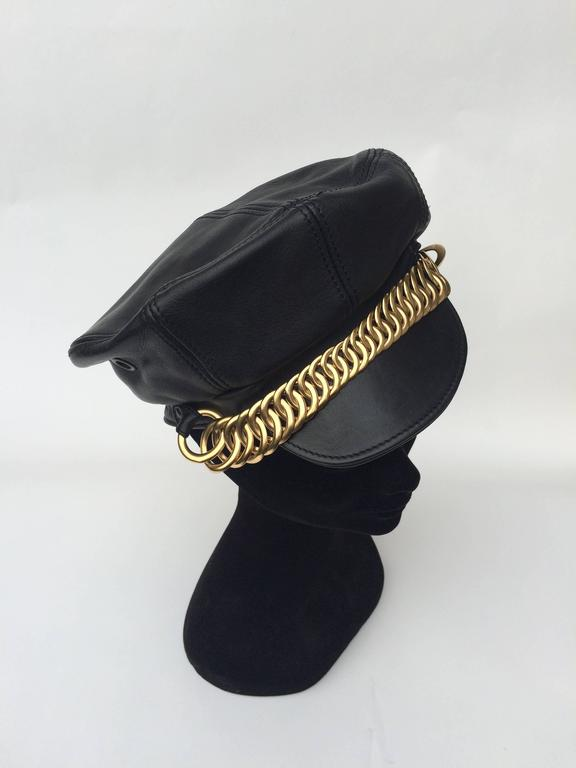 Balenciaga Black Leather and gilt metal peaked cap 3
