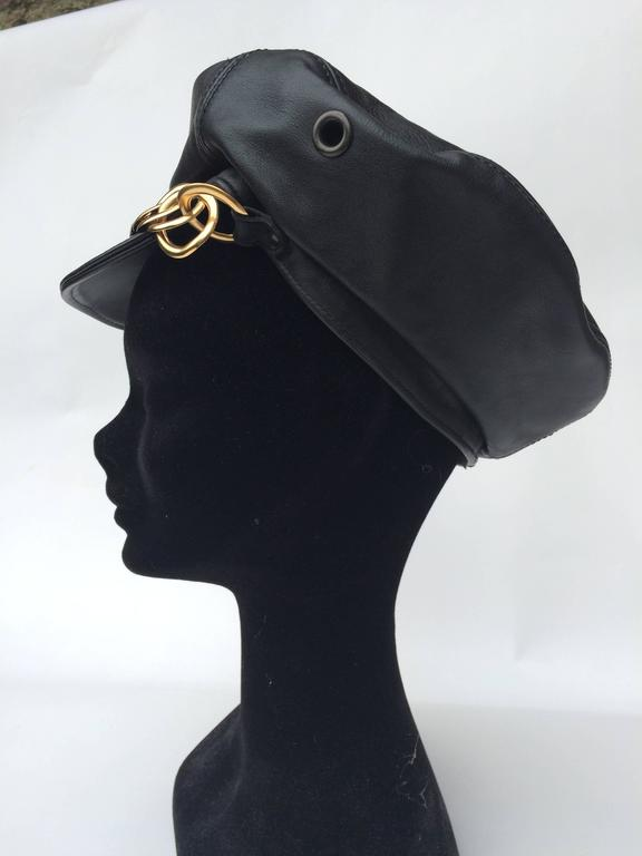 Balenciaga Black Leather and gilt metal peaked cap 4