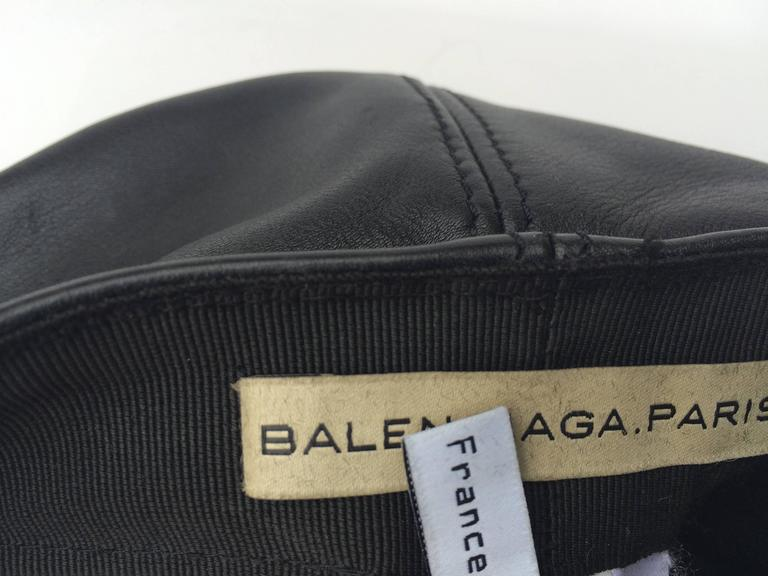 Balenciaga Black Leather and gilt metal peaked cap 5