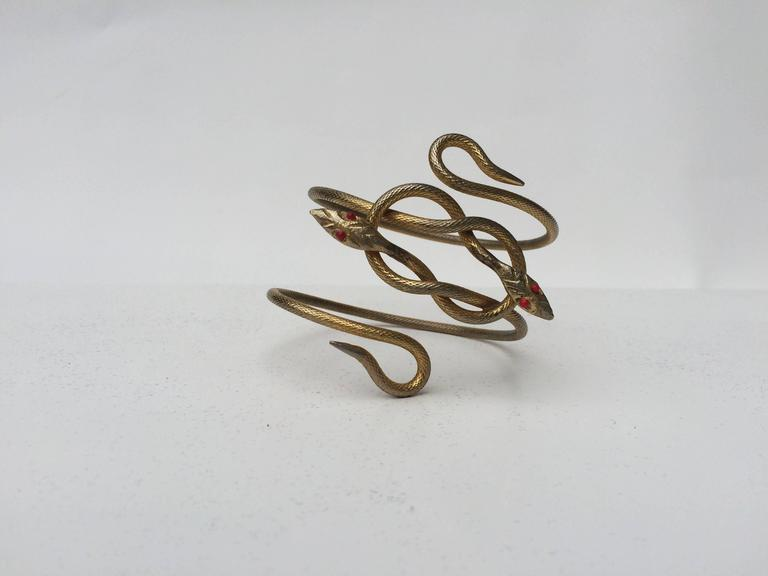Unusually striking 1920s gilt metal double snake armlet 3