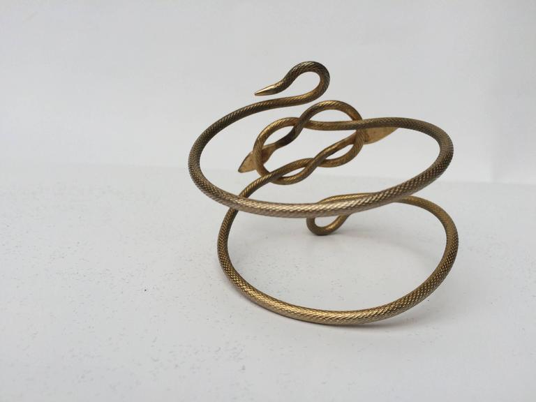Unusually striking 1920s gilt metal double snake armlet 4