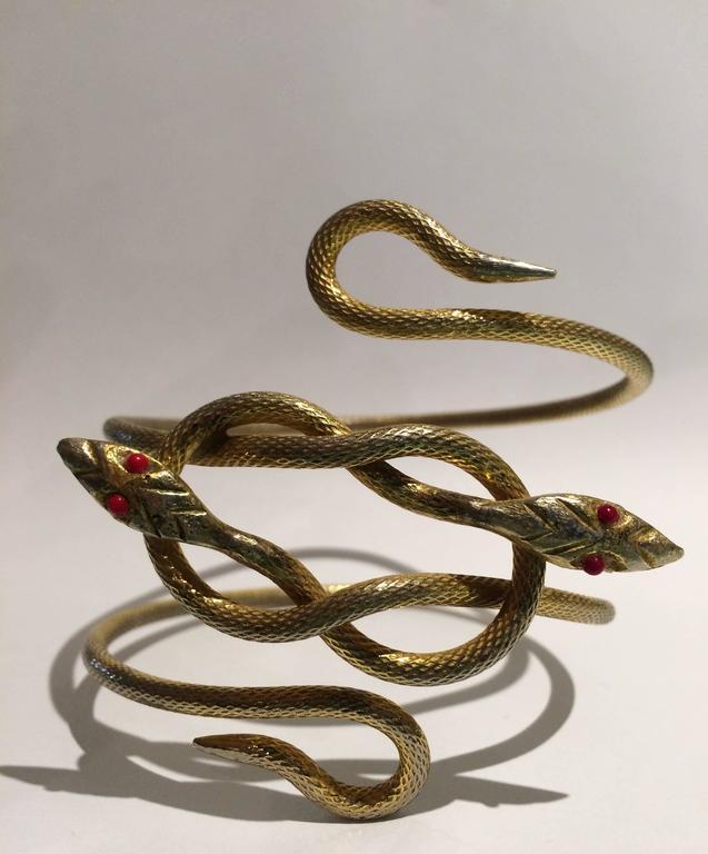 Unusually striking 1920s gilt metal double snake armlet 2