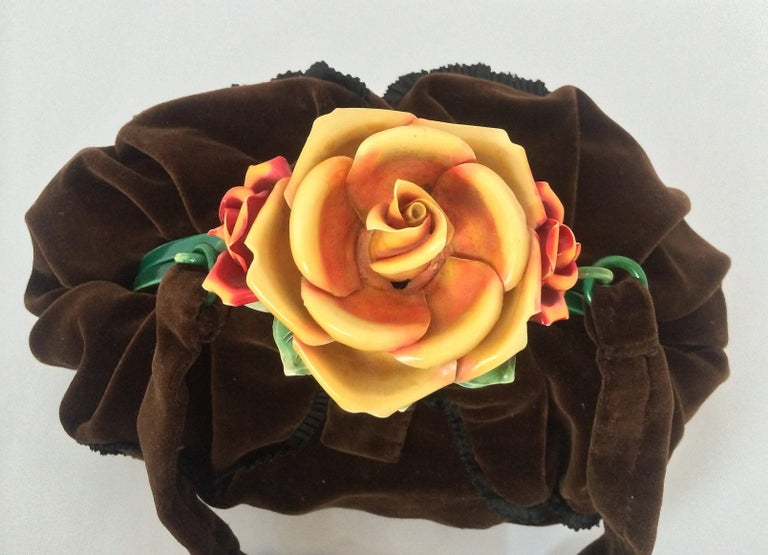 Black Rare silk velvet handbag with celluloid hand coloured 'rose' clasp, France,1920s For Sale