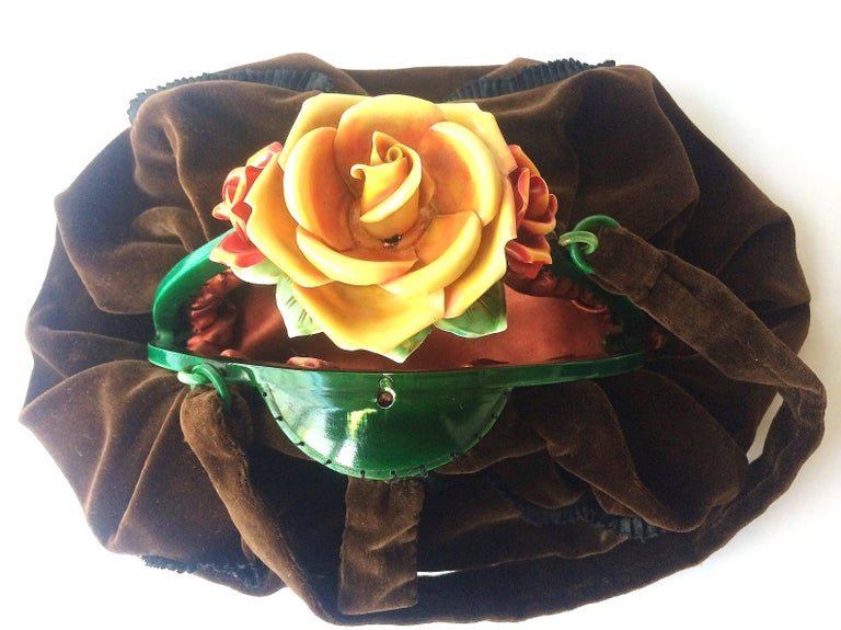 Women's Rare silk velvet handbag with celluloid hand coloured 'rose' clasp, France,1920s For Sale