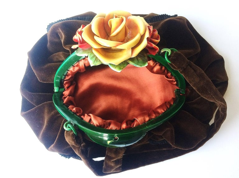 1stdibs Rare Silk Velvet Handbag With Celluloid Hand Coloured rose Clasp, France,1920s