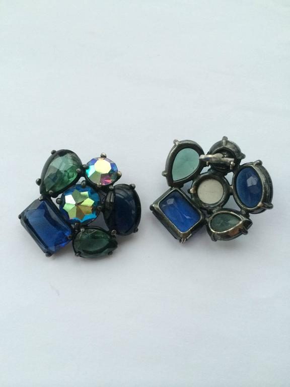 Elsa Schiaparelli large multi stone earrings, 1950s 5