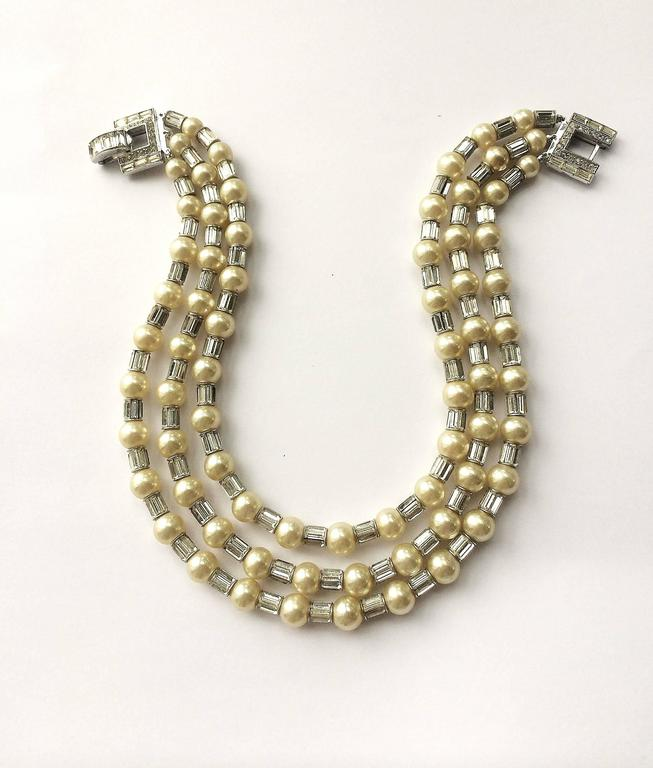 Iconic and utterly unique Trifari 'Mamie Eisenhower' pearl and paste choker, 195 3
