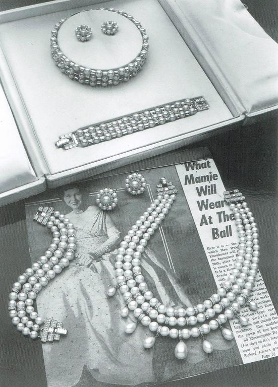 Iconic and utterly unique Trifari 'Mamie Eisenhower' pearl and paste choker, 195 5