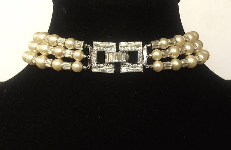 Iconic and utterly unique Trifari 'Mamie Eisenhower' pearl and paste choker, 195 2