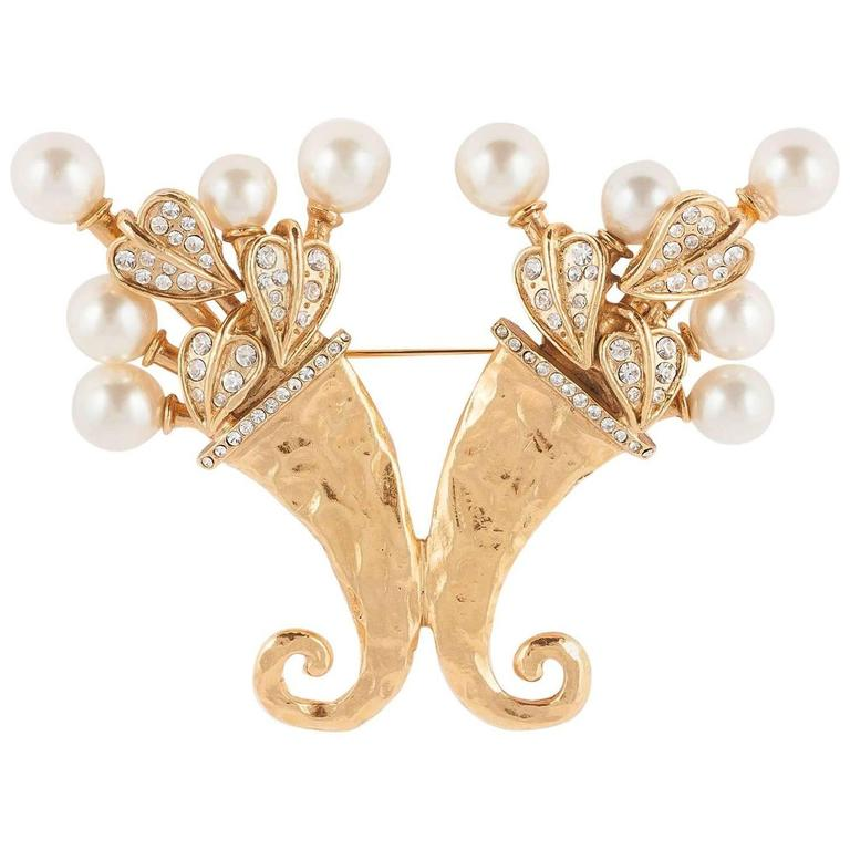 Chanel pearl and gilt cornucopia brooch dated 2003  1