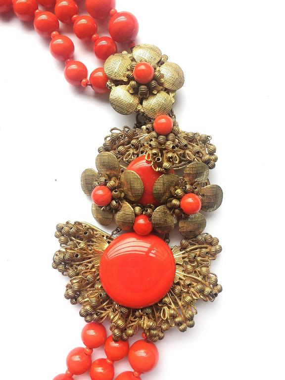 Miriam Haskell vivid red glass multi row necklace, 1960s 3