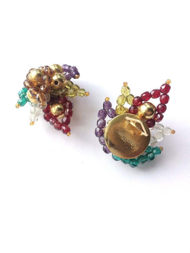 Multi coloured beaded 'paisley style' earrings, Coppola e Toppo, 1960s In Excellent Condition For Sale In London, GB