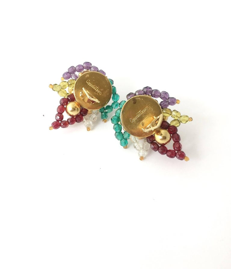Women's Multi coloured beaded 'paisley style' earrings, Coppola e Toppo, 1960s For Sale