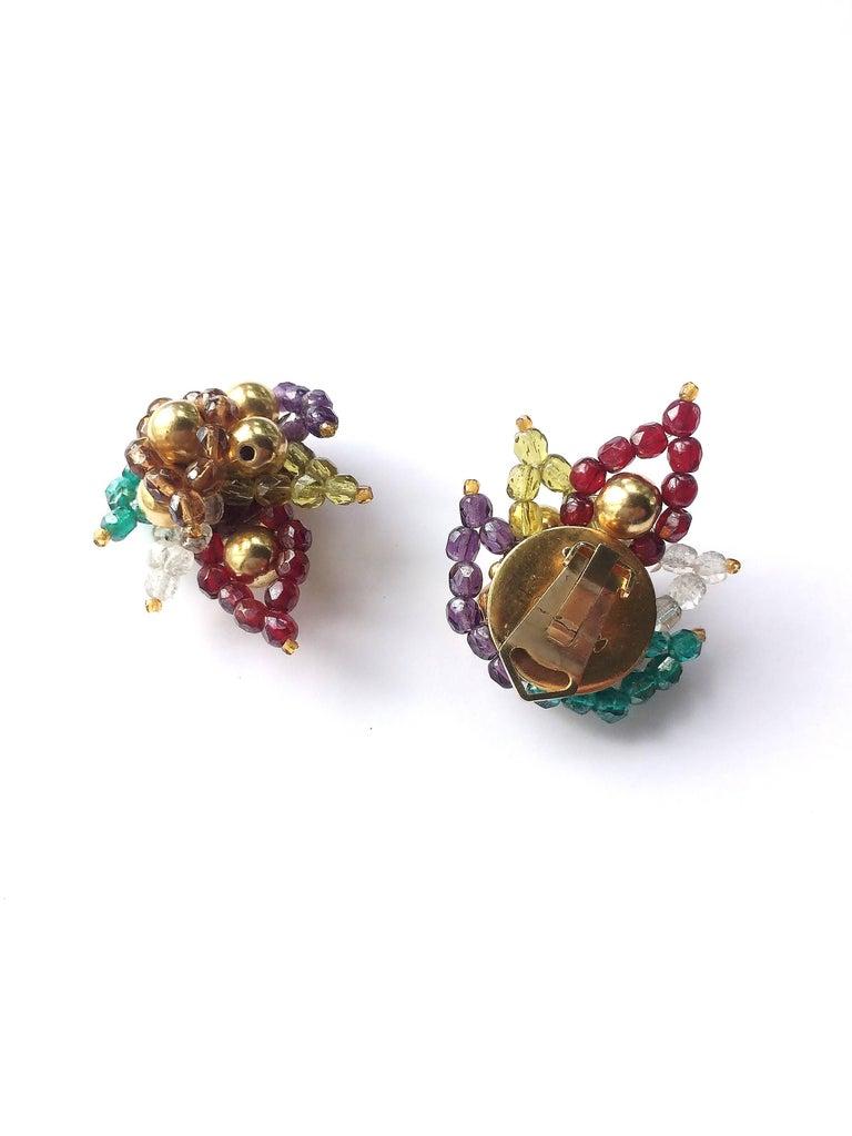 Multi coloured beaded 'paisley style' earrings, Coppola e Toppo, 1960s For Sale 1