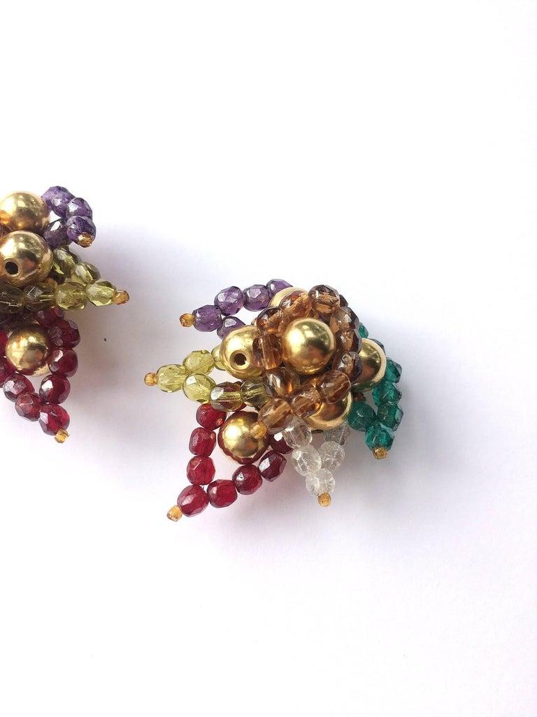Multi coloured beaded 'paisley style' earrings, Coppola e Toppo, 1960s For Sale 2
