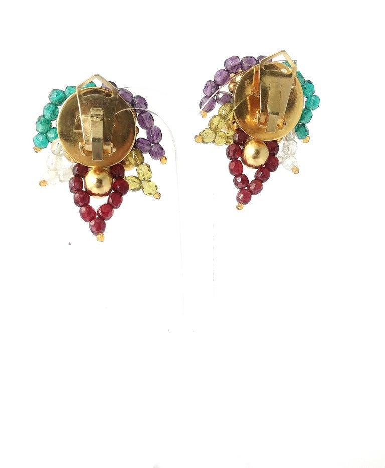 Multi coloured beaded 'paisley style' earrings, Coppola e Toppo, 1960s For Sale 3