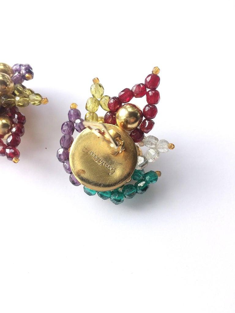 Multi coloured beaded 'paisley style' earrings, Coppola e Toppo, 1960s For Sale 4
