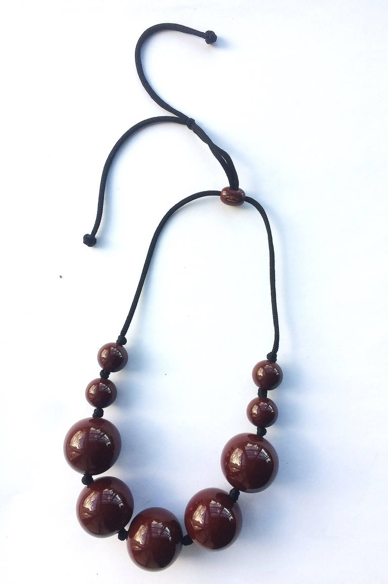 Japanese Lacquer Elsa Peretti Spheres Necklace Tiffany