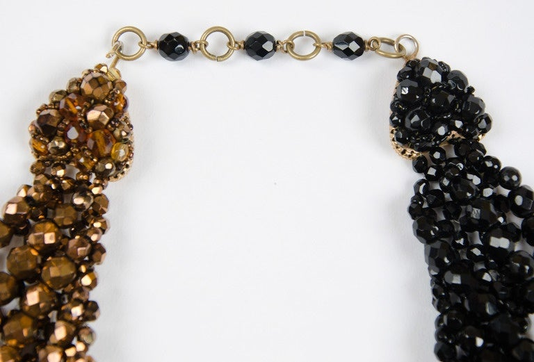 Coppola e Toppo half crystal bead intertwined necklace 1960s 2
