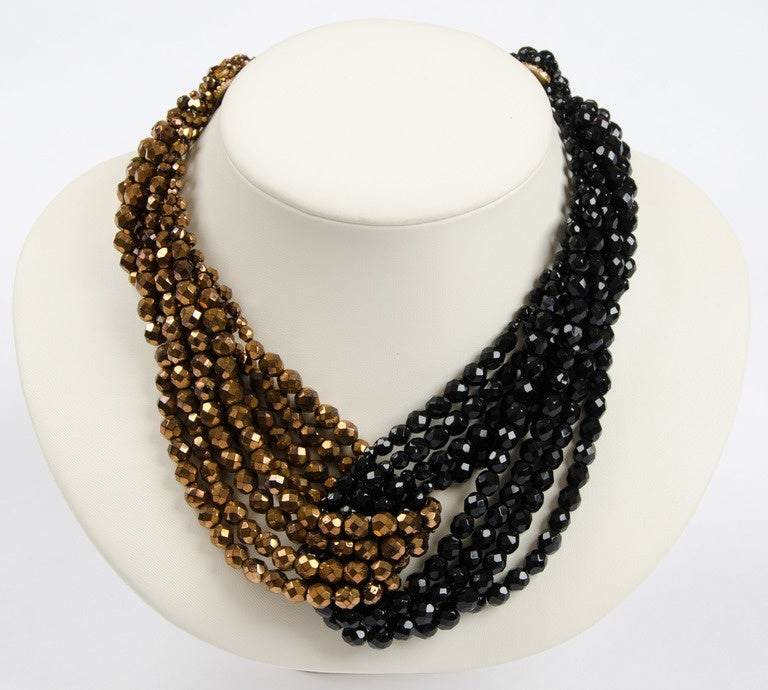 Coppola e Toppo half crystal bead intertwined necklace 1960s 4