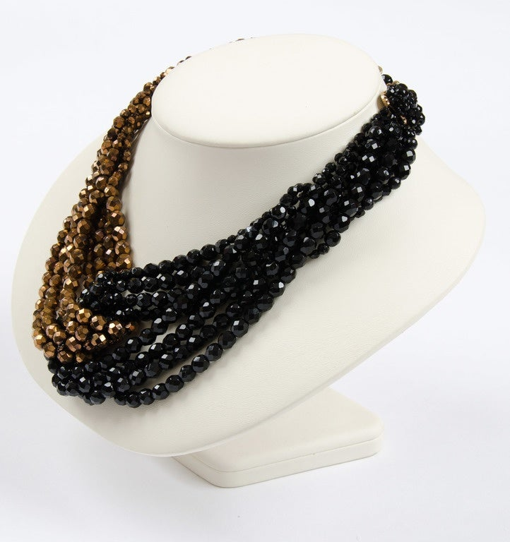 Coppola e Toppo half crystal bead intertwined necklace 1960s 5