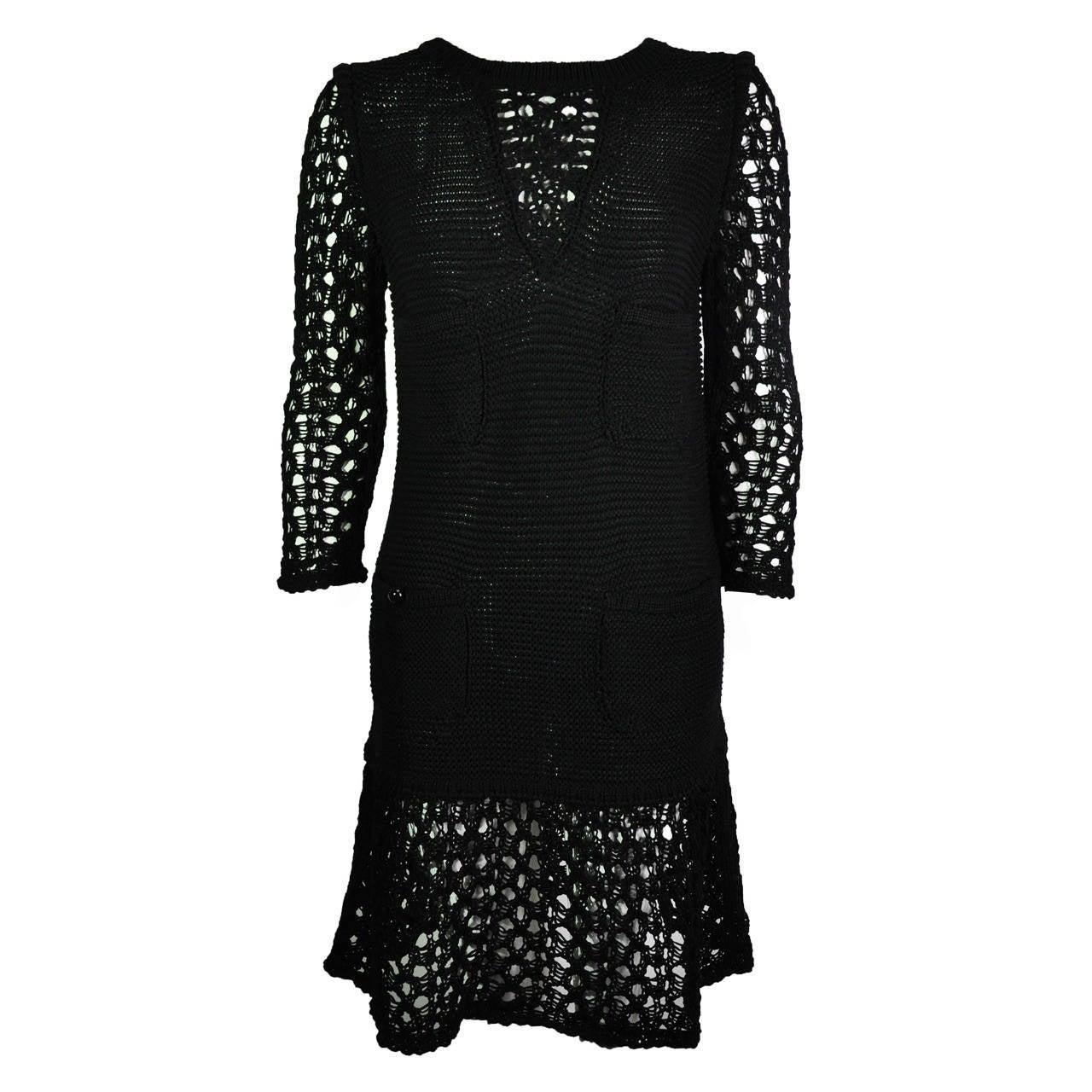 Chanel 2014 Resort Black Open-knit Cotton Dress FR36 New 1