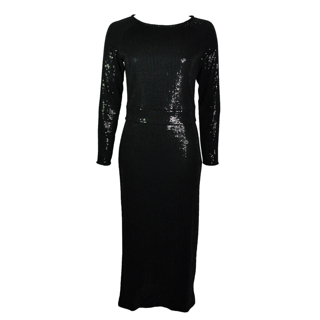Giorgio Armani  Black Fully Sequined Evening Dress