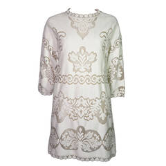 Valentino Cream Guipure Lace Cotton Dress