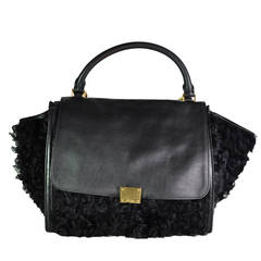 Celine Rare Limited Edition Black Leather & Wool Trapeze Bag