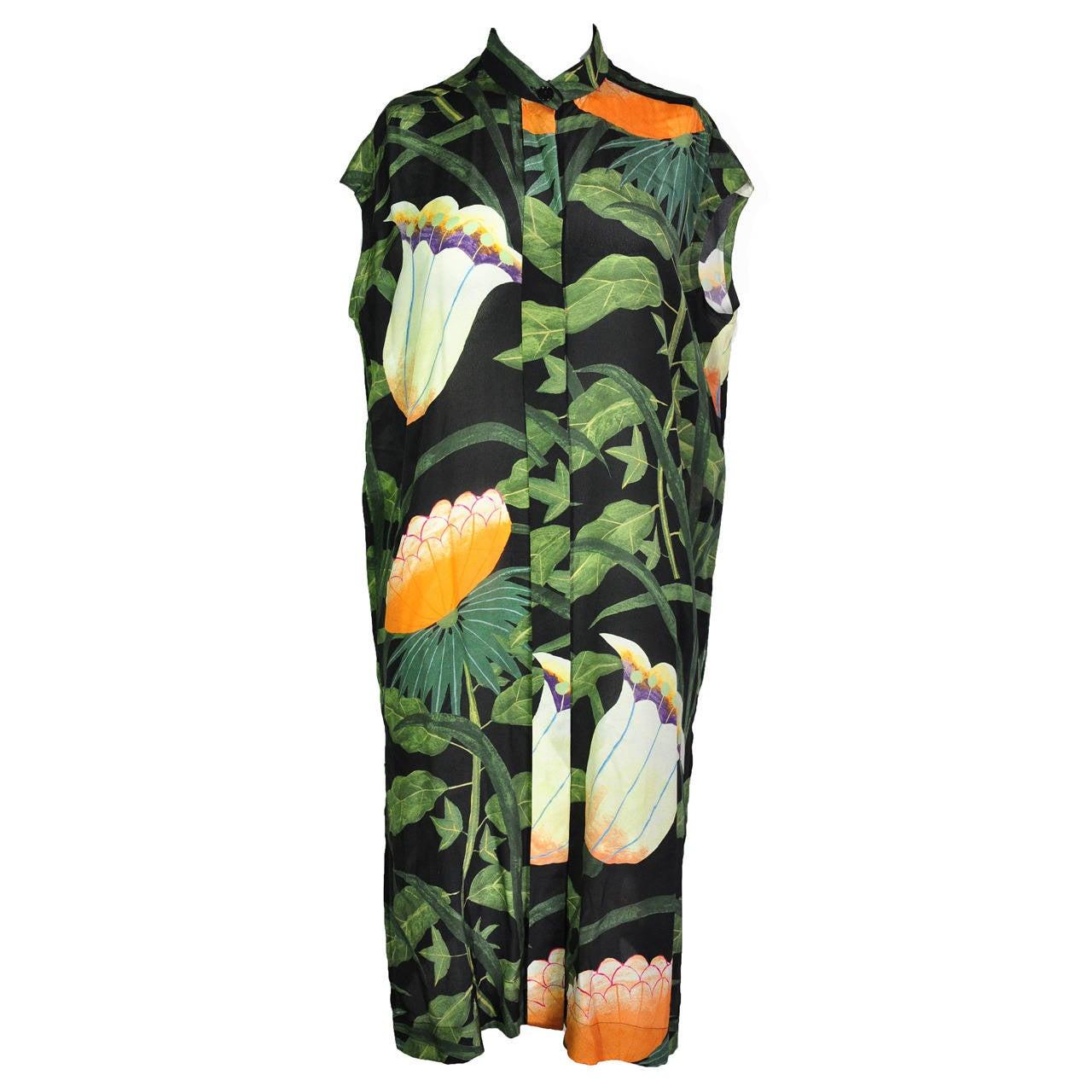 Hermes Botanical Print Sleeveless Over-sized Silk Dress 1