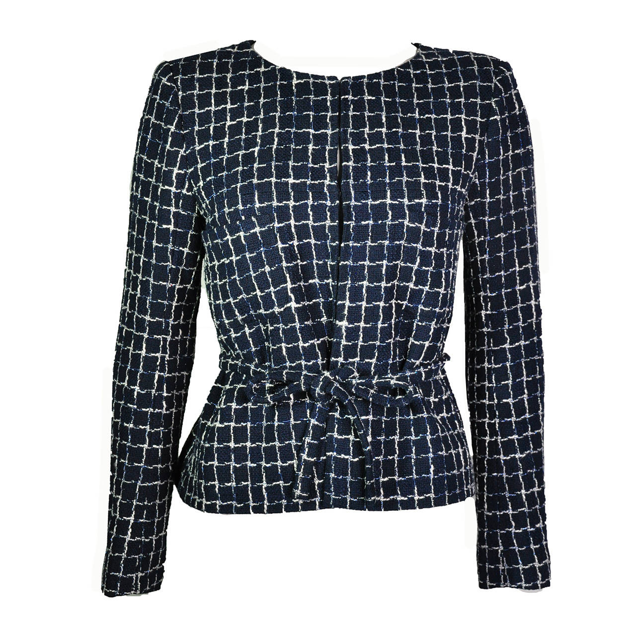 Chanel 2014 S/S Navy Cotton Tweed Jacket FR38 For Sale