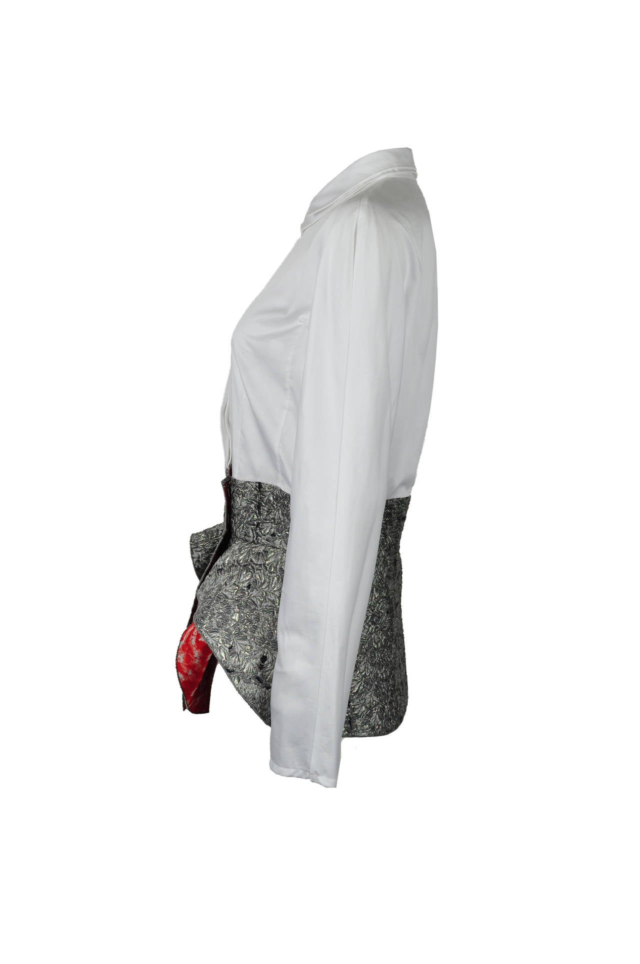 Antonio Berardi White Blouse With Boucle Peplum 3