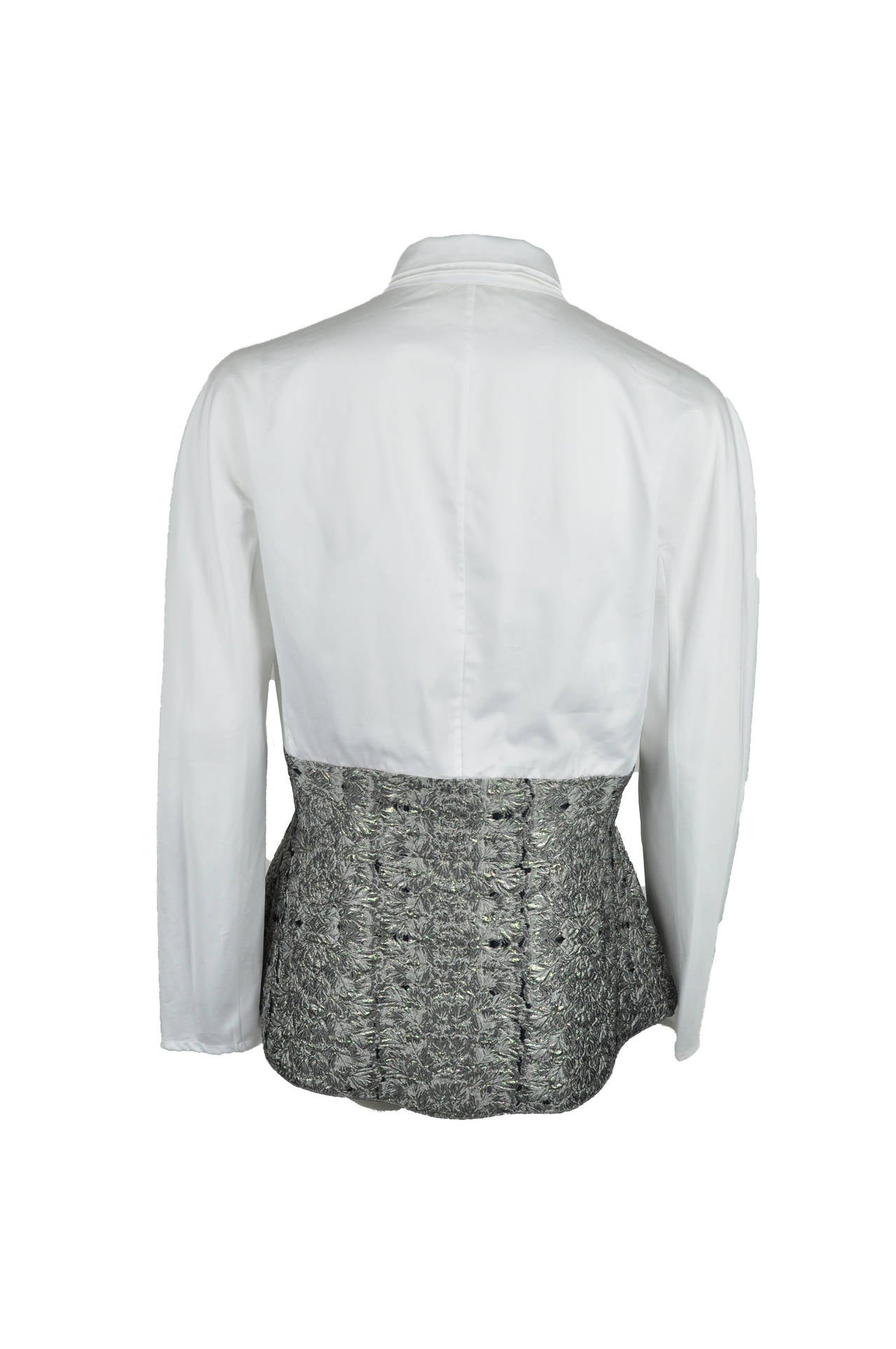 Antonio Berardi White Blouse With Boucle Peplum 2