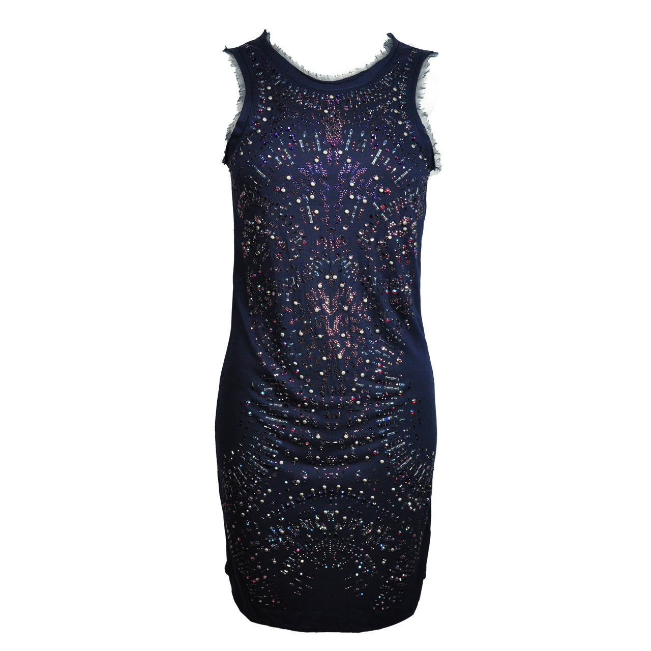 Roberto Cavalli Indigo with Multi-color Crystals Stretch Mini Dress