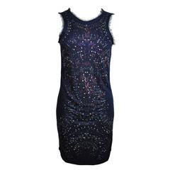 Roberto Cavalli Indigo with Multi-color Crystals Stretch Mini Dress
