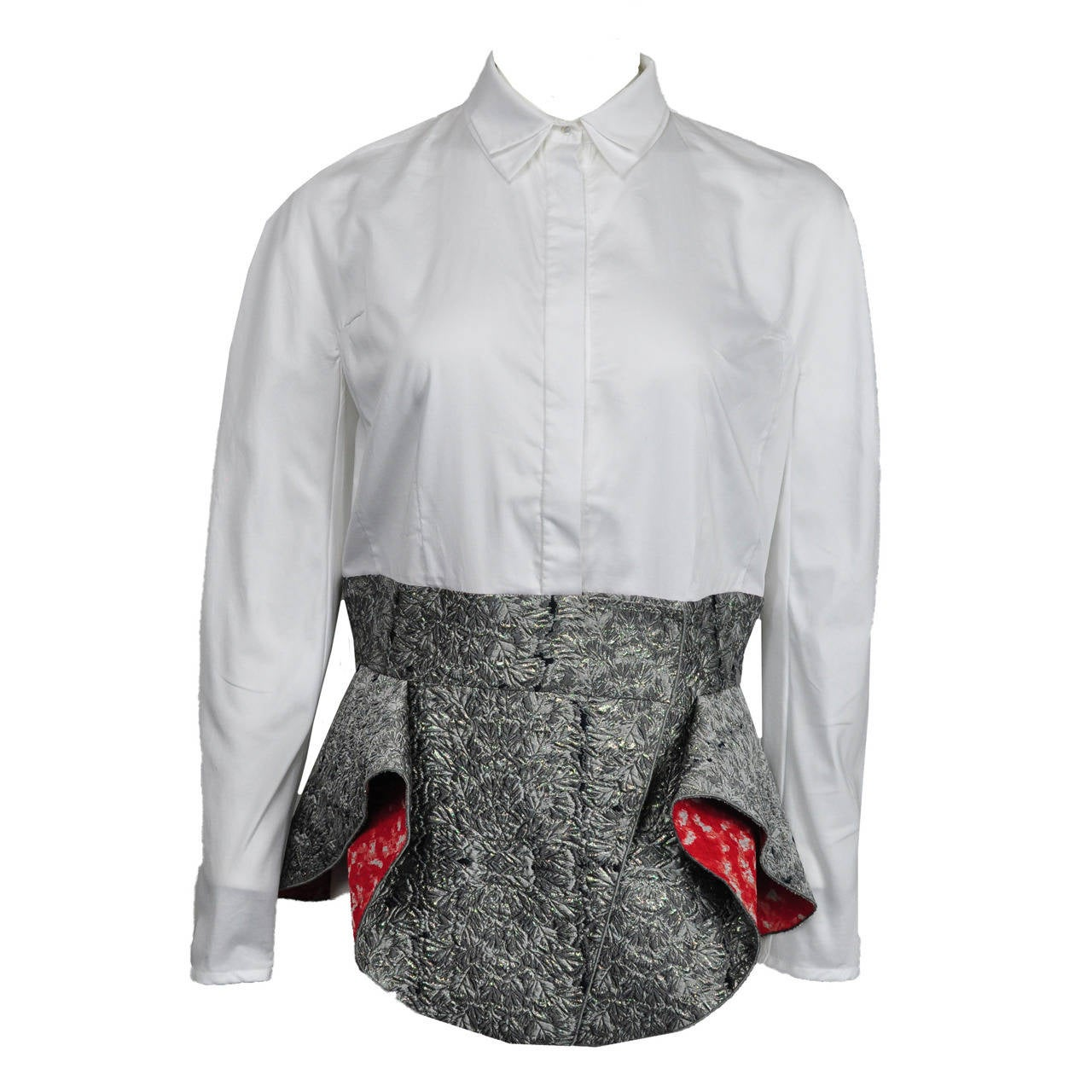 Antonio Berardi White Blouse With Boucle Peplum 1