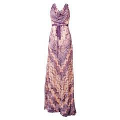 Missoni Multi-color Zigzag Crochet Knit Maxi Dress